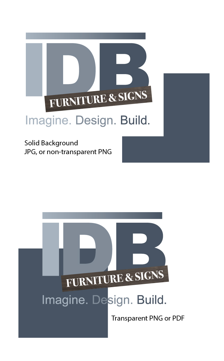 Image shows the difference between solid and transparent backgrounds using the IDB logo