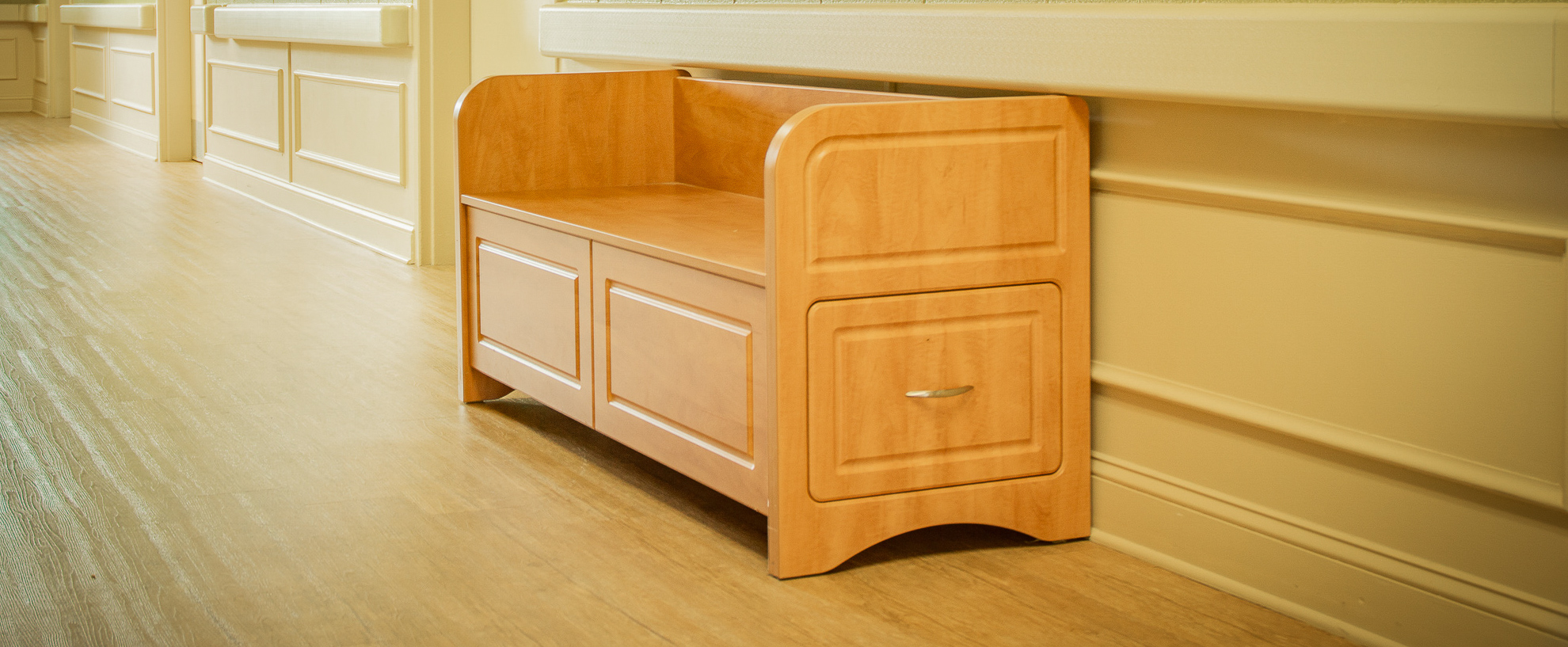Linen Bench in Desert Glow from IDB Furniture & Signs