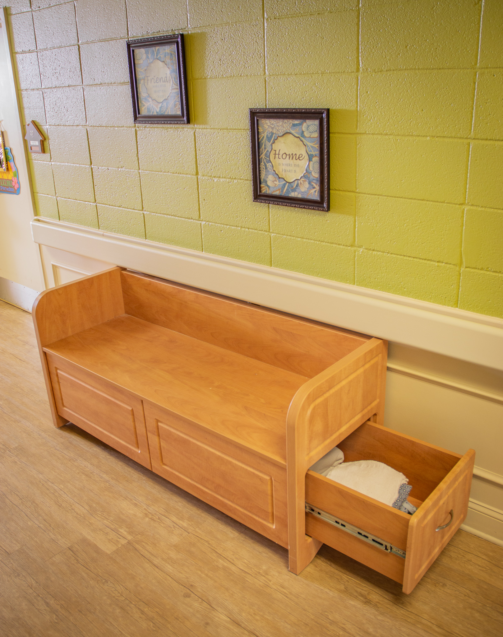 Opened Drawer on the Linen Bench from IDB Furniture & Signs